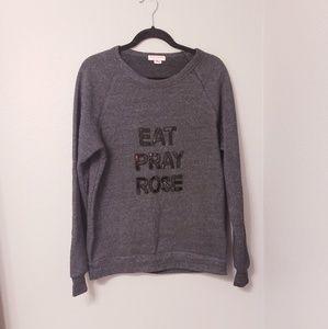 Bow & Drape eat pray rose sweatshirt in charcoal